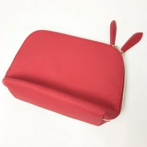 Burberry Beauty Cosmetic Zip Pouch Bag Red